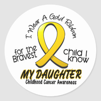 Childhood Cancer Gold Ribbon For My Daughter Round Sticker