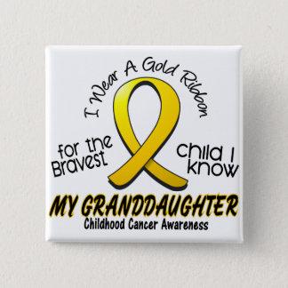 Childhood Cancer Gold Ribbon For My Granddaughter 15 Cm Square Badge