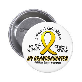 Childhood Cancer Gold Ribbon For My Granddaughter 6 Cm Round Badge