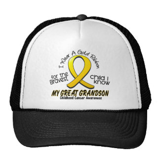 Childhood Cancer Gold Ribbon For My Great Grandson Trucker Hat