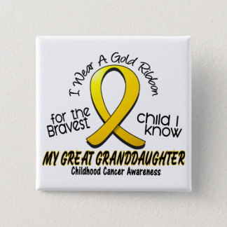 Childhood Cancer Gold Ribbon Great Granddaughter 15 Cm Square Badge