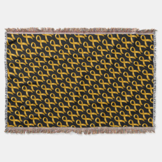 Childhood Cancer Gold Ribbon Throw Blanket