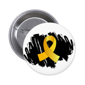 Childhood Cancer Gold Ribbon With Scribble 6 Cm Round Badge