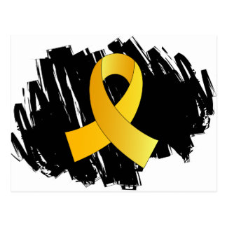 Childhood Cancer Gold Ribbon With Scribble Postcard