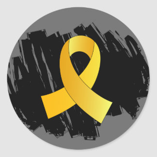Childhood Cancer Gold Ribbon With Scribble Round Sticker