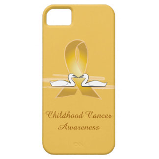 Childhood Cancer Gold Ribbon with Swans Barely There iPhone 5 Case