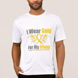 CHILDHOOD CANCER Gold Tribal Ribbon Friend T Shirt