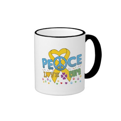 Childhood Cancer Groovy Peace Love Cure Mugs