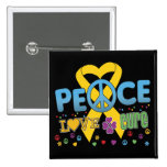 Childhood Cancer Groovy Peace Love Cure Pins