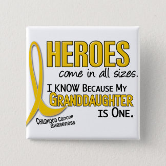 Childhood Cancer Heroes All Sizes 1 Granddaughter 15 Cm Square Badge