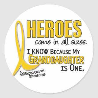 Childhood Cancer Heroes All Sizes 1 Granddaughter Round Sticker