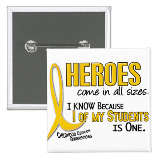 Childhood Cancer Heroes All Sizes 1 Student 15 Cm Square Badge