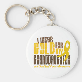 Childhood Cancer I WEAR GOLD FOR MY GRANDDAUGHTER Basic Round Button Key Ring