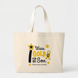 Childhood Cancer I Wear Gold For My Son 12 Large Tote Bag