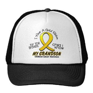 Childhood Cancer I Wear Gold Ribbon For Grandson Cap