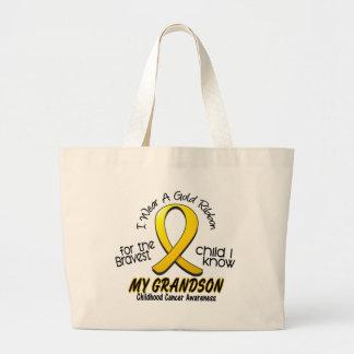 Childhood Cancer I Wear Gold Ribbon For Grandson Jumbo Tote Bag