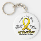 Childhood Cancer I Wear Gold Ribbon For Grandson Key Ring