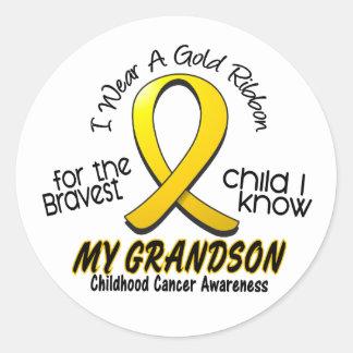 Childhood Cancer I Wear Gold Ribbon For Grandson Round Sticker