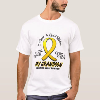 Childhood Cancer I Wear Gold Ribbon For Grandson T-Shirt
