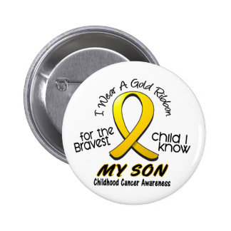 Childhood Cancer I Wear Gold Ribbon For My Son 6 Cm Round Badge