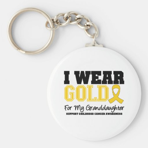 Childhood Cancer I Wear Gold Ribbon Granddaughter Key Chain