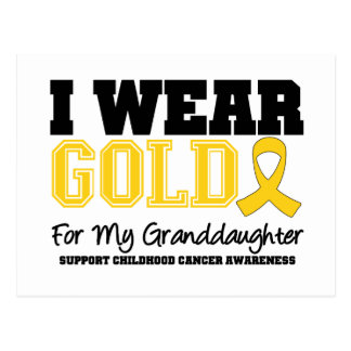 Childhood Cancer I Wear Gold Ribbon Granddaughter Postcard
