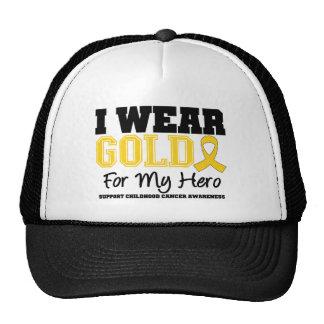 Childhood Cancer I Wear Gold Ribbon Hero Trucker Hat