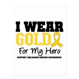Childhood Cancer I Wear Gold Ribbon Hero Postcard