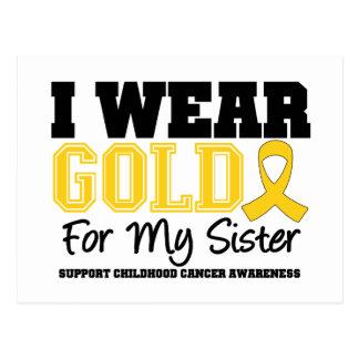 Childhood Cancer I Wear Gold Ribbon Sister Postcard