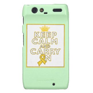 Childhood Cancer Keep Calm and Carry ON Motorola Droid RAZR Case