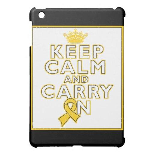 Childhood Cancer Keep Calm and Carry ON iPad Mini Covers