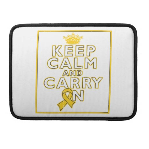 Childhood Cancer Keep Calm and Carry ON MacBook Pro Sleeve
