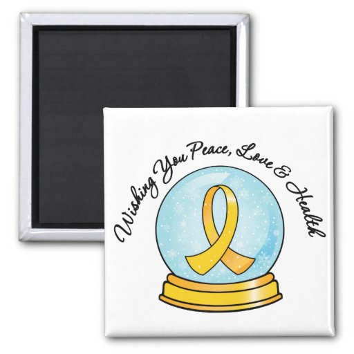 Childhood Cancer Merry Christmas Snowglobe Refrigerator Magnet