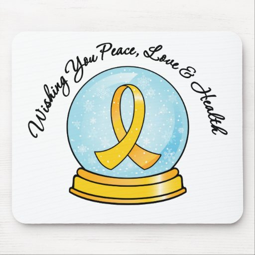 Childhood Cancer Merry Christmas Snowglobe Mouse Pad