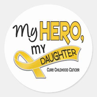 Childhood Cancer MY HERO MY DAUGHTER 42 Round Sticker