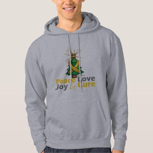 Childhood Cancer Peace Love Joy Cure Hoodie