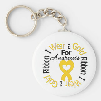 Childhood Cancer Ribbon For Awareness Basic Round Button Key Ring