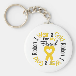 Childhood Cancer Ribbon For My Friend Basic Round Button Key Ring