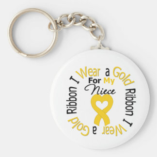 Childhood Cancer Ribbon For My Niece Basic Round Button Key Ring