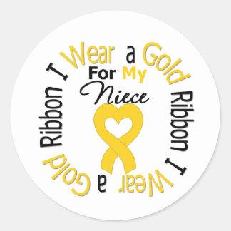 Childhood Cancer Ribbon For My Niece Round Sticker