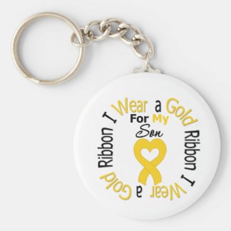 Childhood Cancer Ribbon For My Son Basic Round Button Key Ring