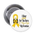 Childhood Cancer Ribbon My Hero My Grandson Pin