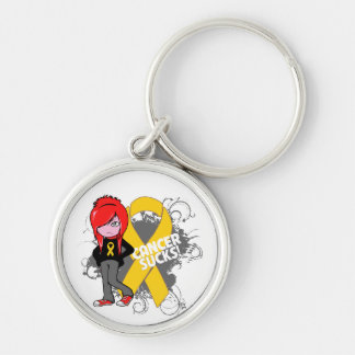 Childhood Cancer Sucks Silver-Colored Round Key Ring