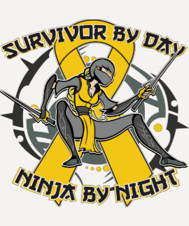 Childhood Cancer Survivor By Day Ninja By Night T-shirt