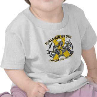 Childhood Cancer Survivor By Day Ninja By Night T Shirts