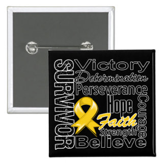 Childhood Cancer Survivor Collage 15 Cm Square Badge