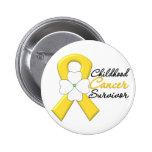 Childhood Cancer Survivor Flower Ribbon Pinback Button
