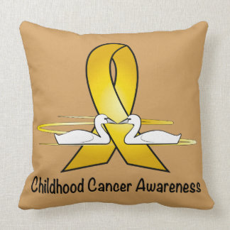 Childhood Cancer Swans of Hope Throw Pillow