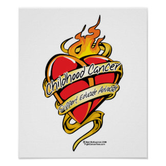 Childhood Cancer Tattoo Heart Poster