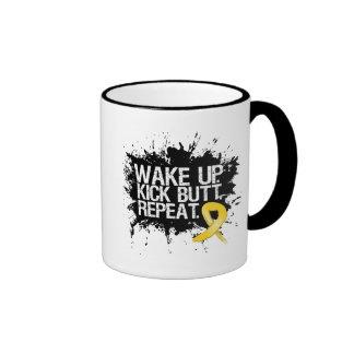Childhood Cancer Wake Up Kick Butt Repeat Ringer Coffee Mug